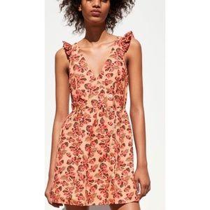 ZARA NWT Tropical Hibiscus Dress Small